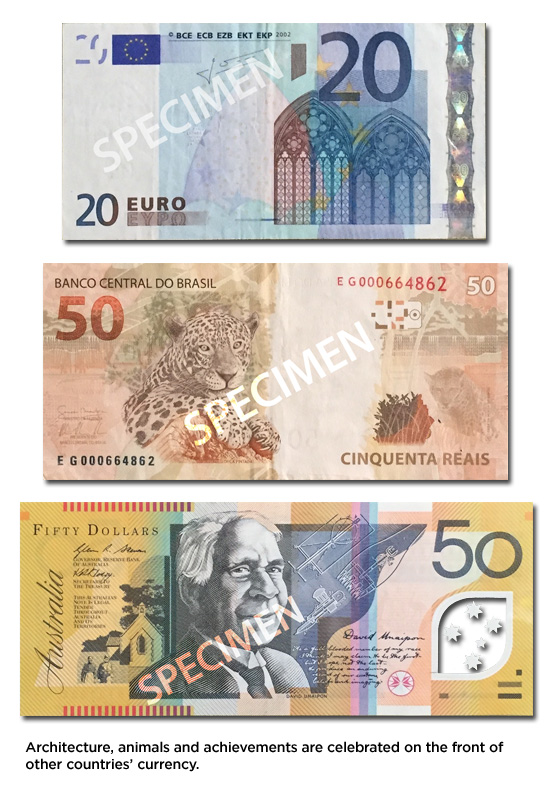 Architecture, animals and achievements are celebrated on the front of other countries' currency.