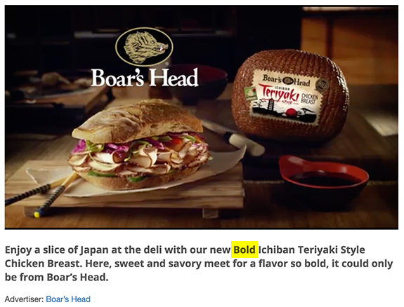 Boar's Head Bold Product Line