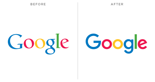 The Google Logo before and after September 1, 2015.