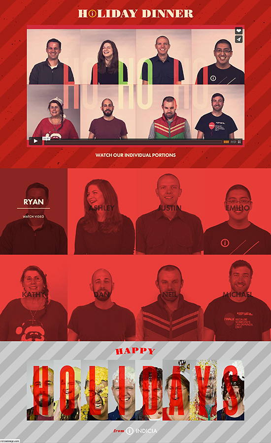 Indicia Holiday 2014 Dinners on Us Landing page