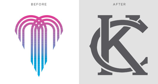 "KC's City of Fountains logo compared to the new crowdsourced ""KC"""