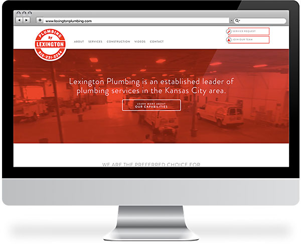 Lexington Plumbing website on a desktop monitor