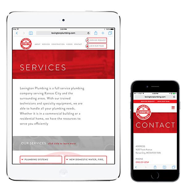 Lexington Plumbing website on an iPad and iPhone