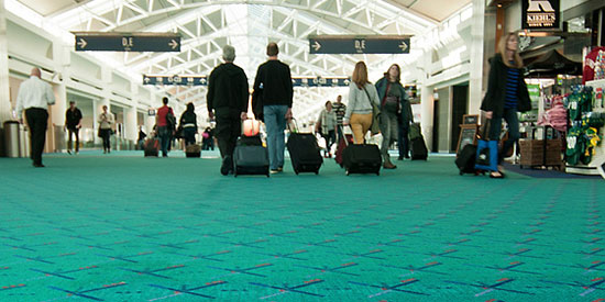 Portland International Airport and its beloved teal carpet.