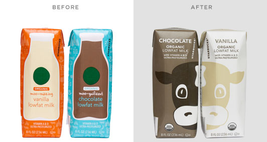 Starbucks Milk Carton Design, Old vs. New