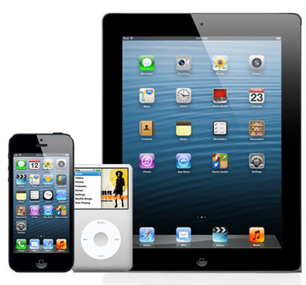 Apple iPhone, iPod and iPad.
