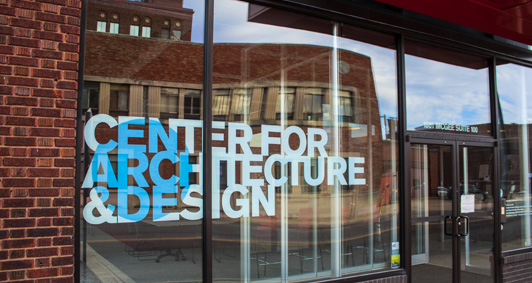 Close up of signage for Center for Architecture and Design