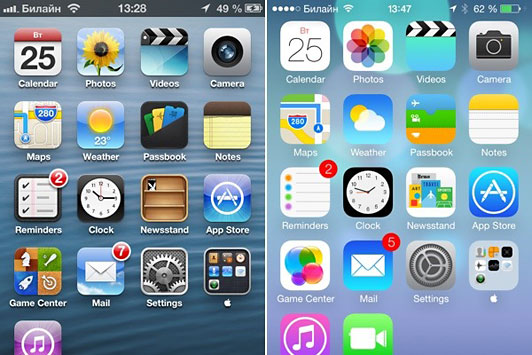 iOS 6 vs. iOS 7 (side-by-side comparison)