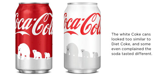 The white Coke cans looked too similar to Diet Coke, and some even complained the soda tasted different