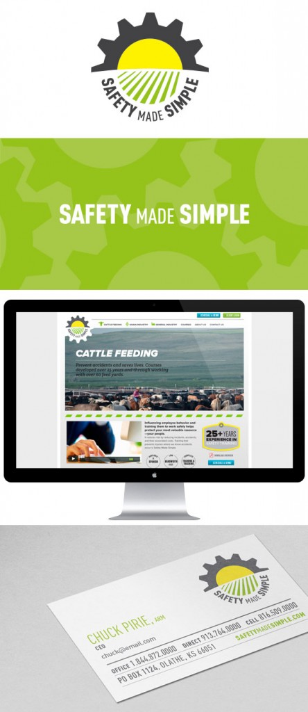 Safety Made Simple logo, background pattern, web site and business cards